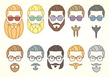 Set of hipster face with mustaches and beards stock illustration