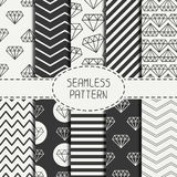 Set of hipster fashion geometric seamless pattern Royalty Free Stock Photo