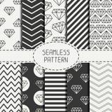 Set of hipster fashion geometric seamless pattern Royalty Free Stock Photo