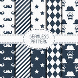 Set of hipster fashion geometric seamless pattern Royalty Free Stock Images