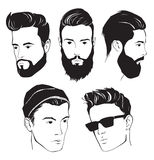 Set of hipster fashion man with beard, mustache and Sunglasses Royalty Free Stock Photos