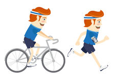 Set of Hipster funny sportsmen cycling and running. Flat style Royalty Free Stock Photo