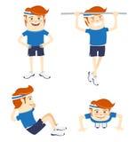Set of Hipster funny sportsmen doing exercises. Flat style. Vector illustration Set of Hipster funny sportsmen doing exercises. Flat style royalty free illustration