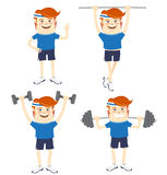 Set of Hipster funny sportsmen doing exercises. Flat style Stock Photos