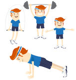 Set of Hipster funny sportsmen doing exercises. Flat style Royalty Free Stock Photography