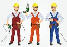 Set of hipster handymen holding drills Stock Image