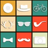 Set hipster icons Stock Photography