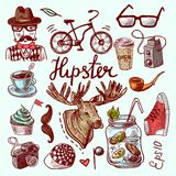 Set of hipster icons Stock Photos