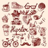 Set of hipster icons Stock Photo