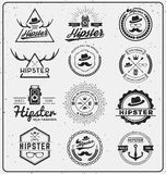 Set of hipster insignia logo design Stock Image