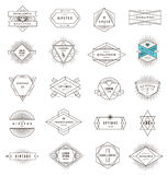 Set of hipster line emblems and signs Stock Images