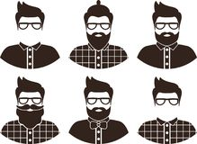 Set of hipster man silhouette, flat icon - a man with glasses, mustache and beard, wearing an in a plaid shirt and bow tie. Royalty Free Stock Images