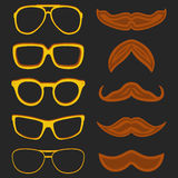 Set of hipster nerd glasses and stylish mustaches on black Royalty Free Stock Photos