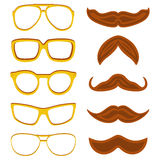 Set of hipster nerd glasses and stylish mustaches isolated on white Stock Image
