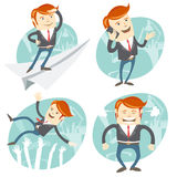 Set of hipster officeman: Office man flying an looking to the fu Stock Photos