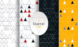 Set of hipster patterns. Set of hipster bright patterns. Abstract geometric background. Vector illustration Stock Photos