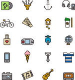 Set of hipster related icons. Illustrated set of cartoon hipster related icons on a white background Stock Photos