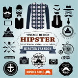 Set of Hipster style elements labels and icons. Set of Hipster style elements, labels and icons Royalty Free Stock Photography