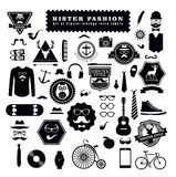 Set of Hipster style elements labels and icons. Set of Hipster style elements, labels and icons Royalty Free Stock Images