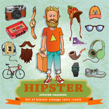 Set of Hipster style elements. Labels and icons. Vector illustration Stock Photography