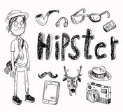 Set of Hipster style elements. Labels and icons. Vector illustration Stock Image