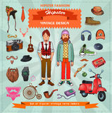 Set of Hipster style elements, labels and icons. Vector illustration Stock Photography