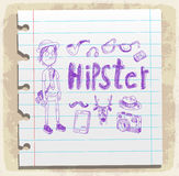 Set of Hipster style elements on paper note, vector illustration Stock Photography