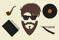 Set of hipster style icons. Set of hipster style stuff. Sunglasses, pipe vinyl razor, notebook, pencil, haircut, mustache, beard Stock Image