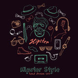 Set of hipster style symbols Sketches Royalty Free Stock Photography