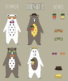 Set of  hipster summer bear flat  with accessories can swap. Vintage styled design hipster icons, signs and symbols templates for your design. set of Royalty Free Stock Image