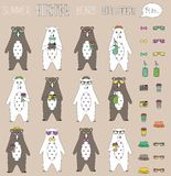 Set of  hipster summer bear flat  with accessories can swap. Vintage styled design hipster icons signs and symbols templates for Royalty Free Stock Images