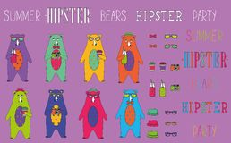 Set of  hipster summer party bear Royalty Free Stock Photo