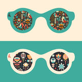 Set of hipster sunglasses with flowers and happy birds. Royalty Free Stock Photos