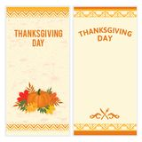Set of hipster Thanksgiving Day backgrounds in brown and orange. Great for menu, invitation or shopping list templates Royalty Free Stock Photo