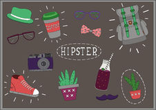 Set hipster things on the blackboard. Background pattern - stuff hipsters on the blackboard in chalk Stock Photo