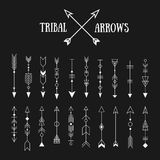 Set of hipster tribal arrows on chalkboard background. Line vint Royalty Free Stock Photo