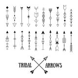 Set of hipster tribal arrows isolated on white. Line vintage vec. Tor design collection. Ethnic ink set Royalty Free Stock Photos