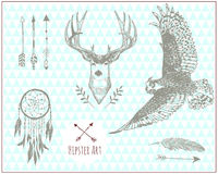 Set of hipster vintage illustration elements Royalty Free Stock Photos