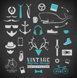 Set of hipster vintage retro chalk label and icon Royalty Free Stock Photography