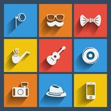 Set of 9 hipster web and mobile icons. Vector. Royalty Free Stock Images