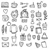 Set of hipster xmas stickers. Cute hipster man and woman face. Outline style. Vector illustration. White background. Royalty Free Stock Photo
