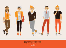 Set with hipster young man in different poses, with smiling faces, hairstyle and beard style. Full body male characters. Stock Image
