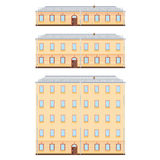 Set of historical building facades highly detailed, real, colored,  on white background Royalty Free Stock Photo