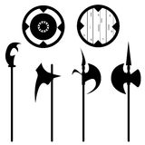 Set of historical halberd silhouettes Royalty Free Stock Photography