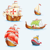 Set of historical ships Royalty Free Stock Photography