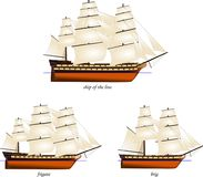 Set of historical wooden sailing warships. Vector illustration of a set of wooden sailing warships ship of the line, frigate, brig, separated at waterline Royalty Free Stock Image