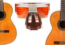 Set hiszpańskich gitar akustycznych zamknięty up Obrazy Stock