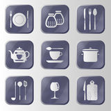 Set of hitech metal kitchen button. Royalty Free Stock Photo