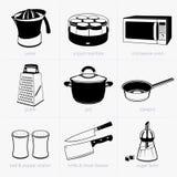 set hjälpmedel för matlagningkök Royaltyfria Bilder