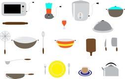set hjälpmedel för matlagningkök Arkivbilder